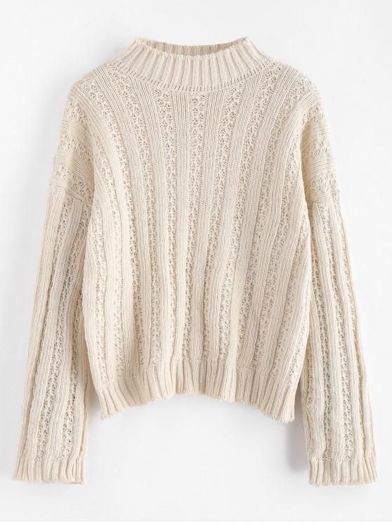 online Drop Shoulder Wide Ribbed Boxy Sweater - WARM WHITE ONE SIZE