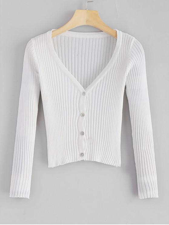 a0638d09cd50 33% OFF] 2019 V Neck Button Up Cropped Ribbed Cardigan In WHITE | ZAFUL