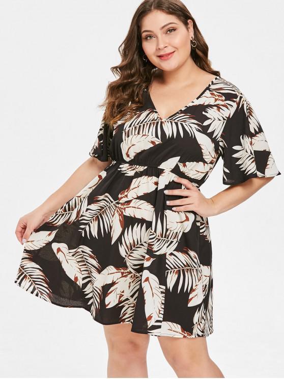 Vestido casual con estampado de hojas talla grande de ZAFUL - Multicolor 1X