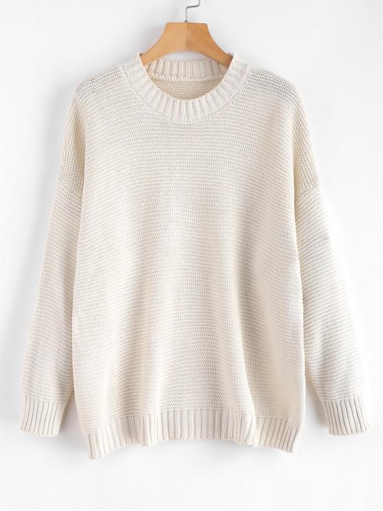 latest Dropped Shoulder Sleeve Boxy Sweater - WARM WHITE ONE SIZE