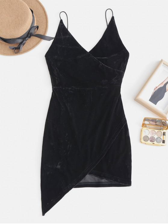 latest Strappy Open Back Velvet Mini Party Dress - BLACK L