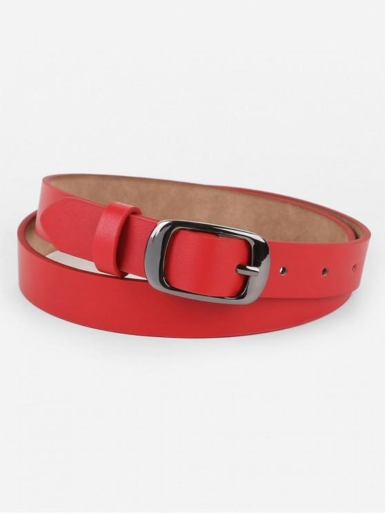 lady Metal Buckle Artificial Leather Belt - RED