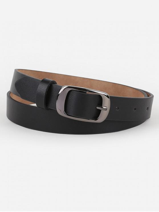 online Metal Buckle Artificial Leather Belt - BLACK