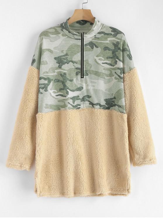 hot Half Zip Camouflage Faux Fur Panel Sweatshirt - MULTI-A XL
