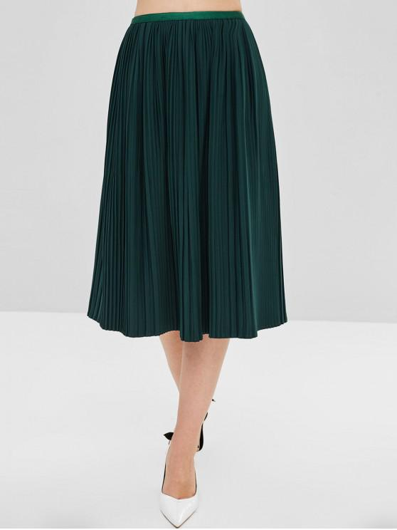 9068aee758c8bd 28% OFF] 2019 Half Lined Pleated Skirt In GREEN | ZAFUL
