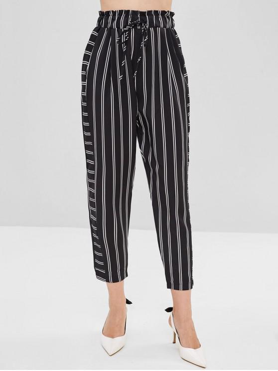 Pantalon Rayé à Cordon - Noir L