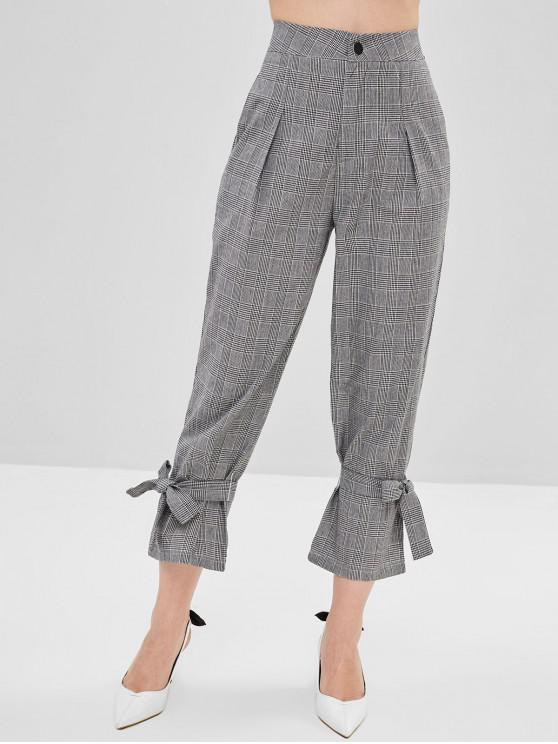 shops Tie Ankle Checked Pants - GRAY CLOUD L