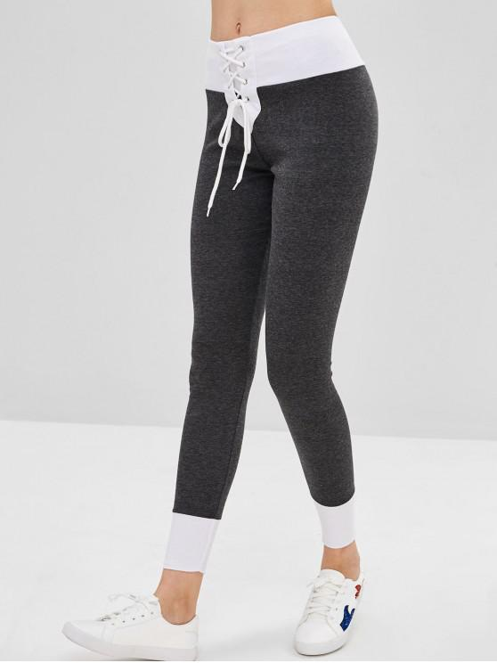 chic Lace-up Ponte Pants - DARK GRAY M