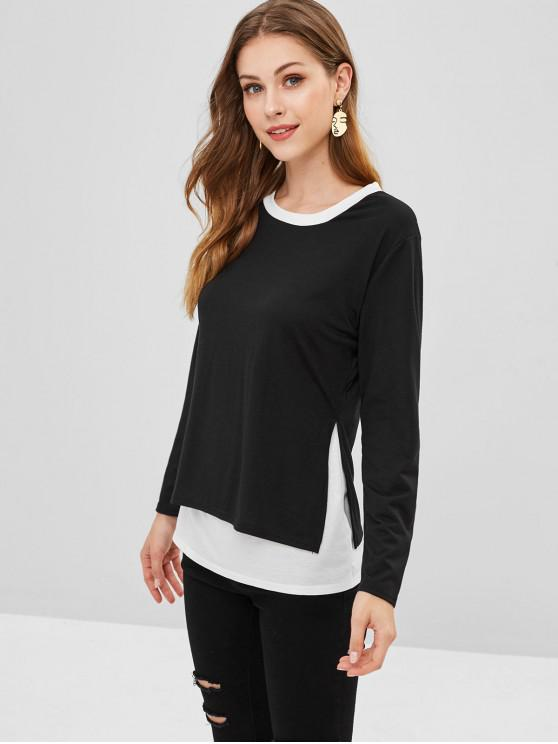 affordable Side Slit Two Tone Tee - BLACK S