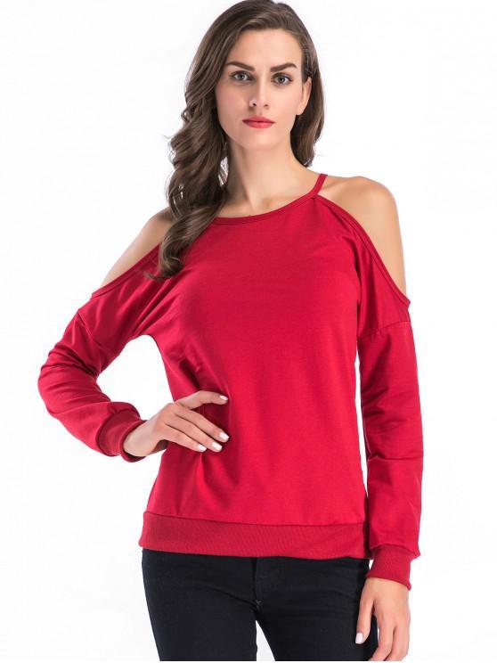 shops Cold Shoulder Plain Sweatshirt - RED M