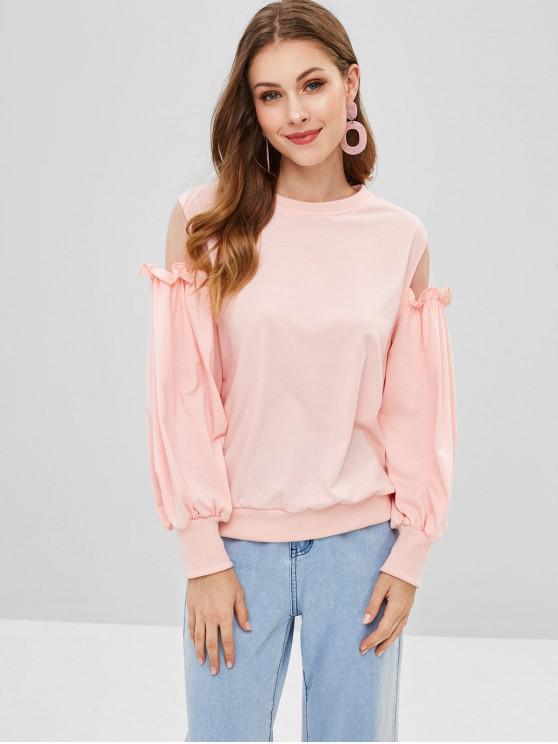 outfits Ruffles Mesh Panel Sweatshirt - SAKURA PINK M