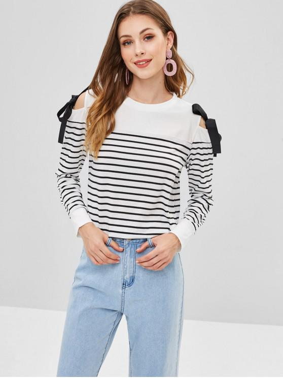 latest Cold Shoulder Knotted Striped Tee - WHITE S