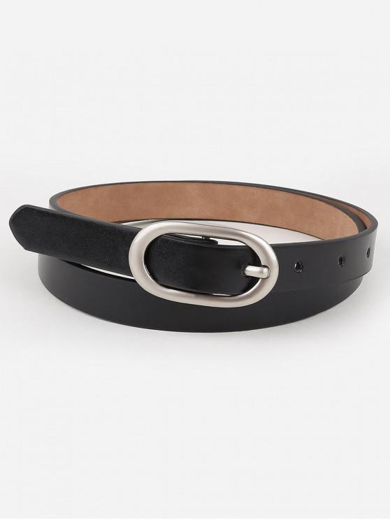womens Metal Oval Buckle Faux Leather Belt - BLACK
