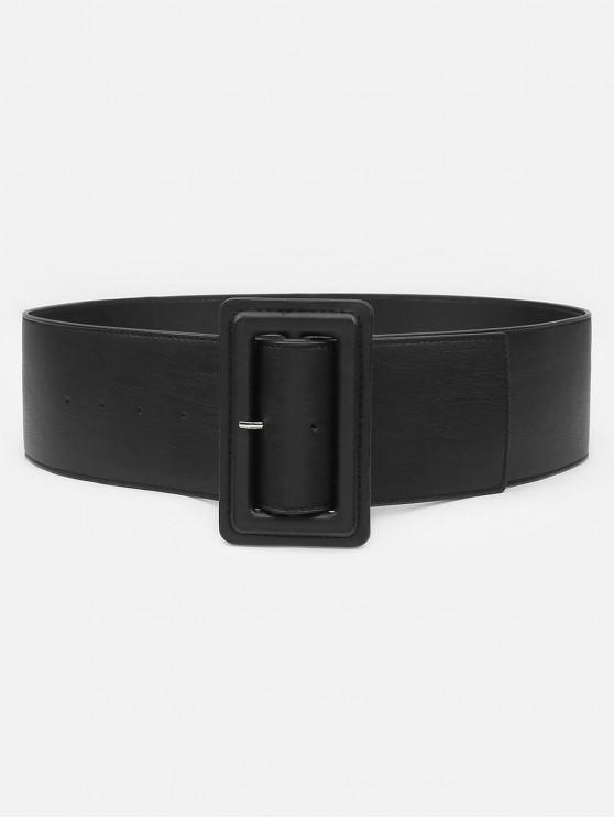 outfits Casual Rectangle Buckle Artificial Leather Belt - BLACK