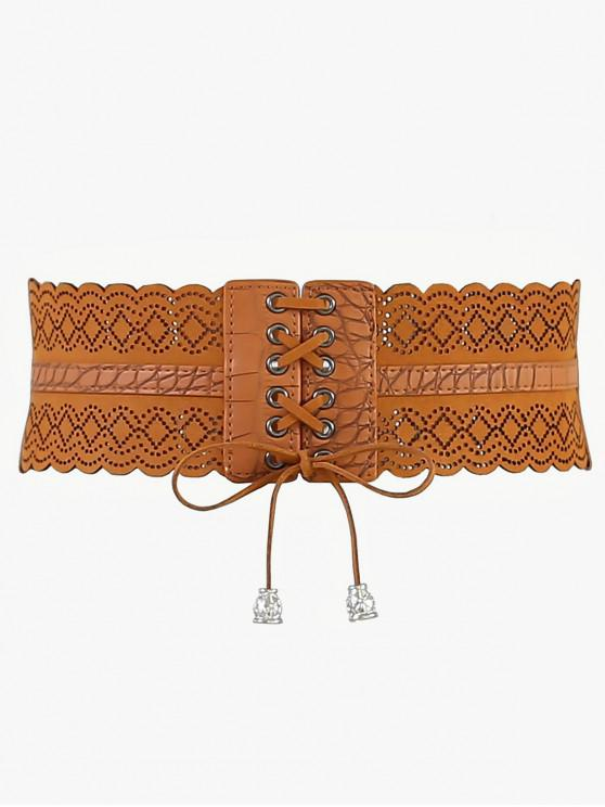 buy Rhombus Faux Leather Stretchy Wide Waist Belt - CAMEL BROWN