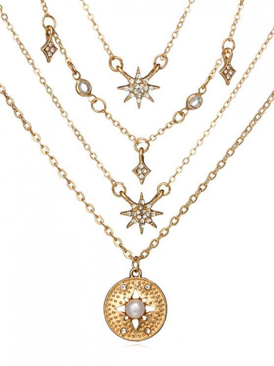 fancy Round Shape Rhinestone Star Decor Necklace - GOLD