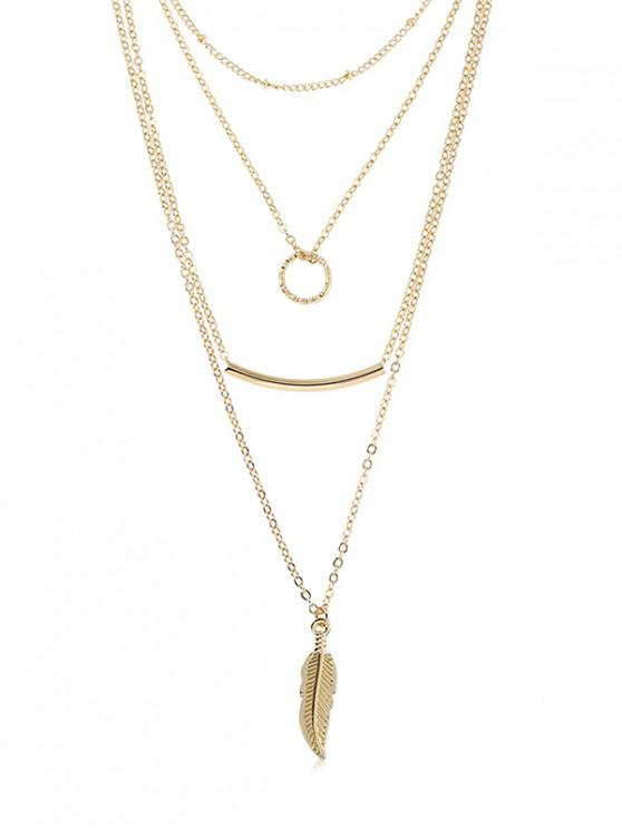 sale Layered Metal Hoop Shape Necklace - GOLD
