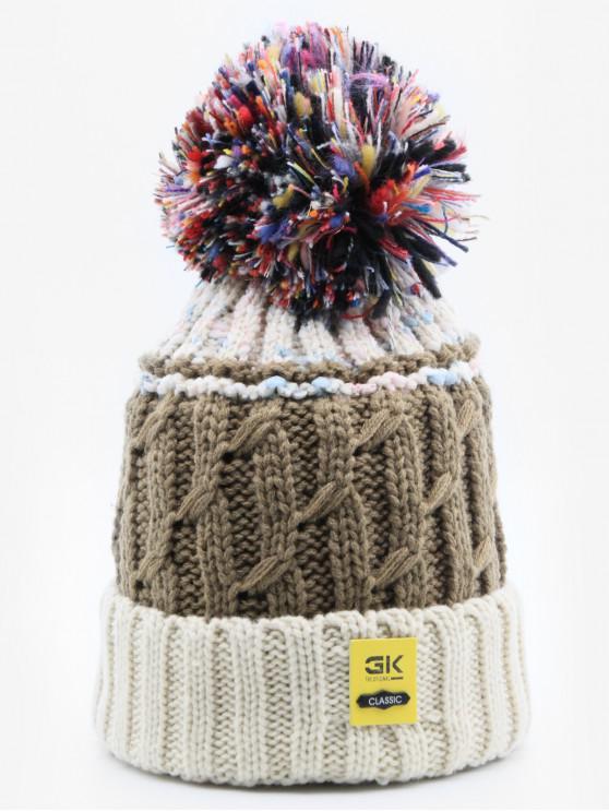 womens Stylish Knitting Fuzzy Ball Beanie - BEIGE