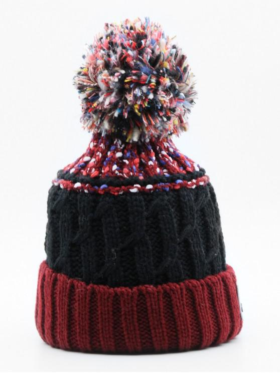 trendy Stylish Knitting Fuzzy Ball Beanie - RED