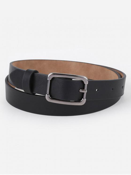 fancy Simple Metal Buckle Skinny Waist Belt - BLACK