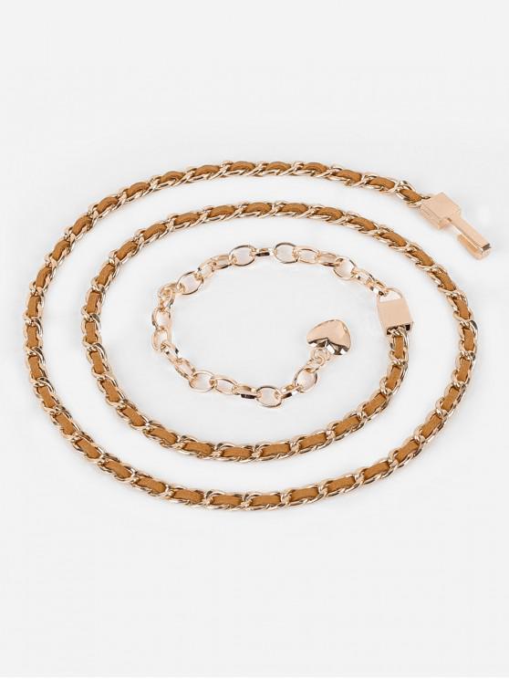 women's Stylish Infinity Metal Loops Chain Belt - BROWN