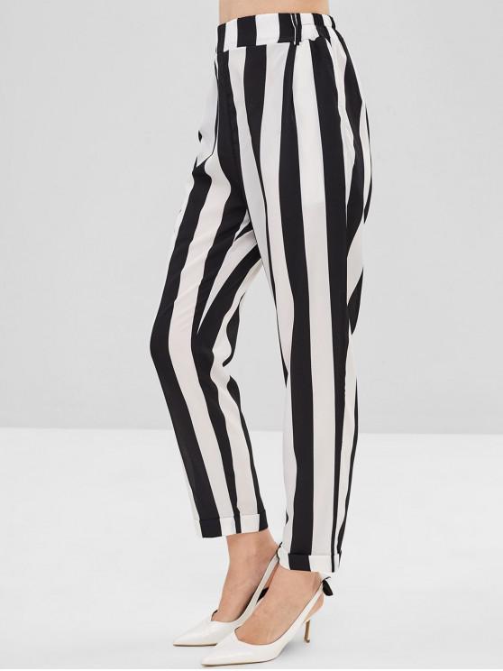 Pantalones de lápiz a rayas de bolsillo - Multicolor-A L