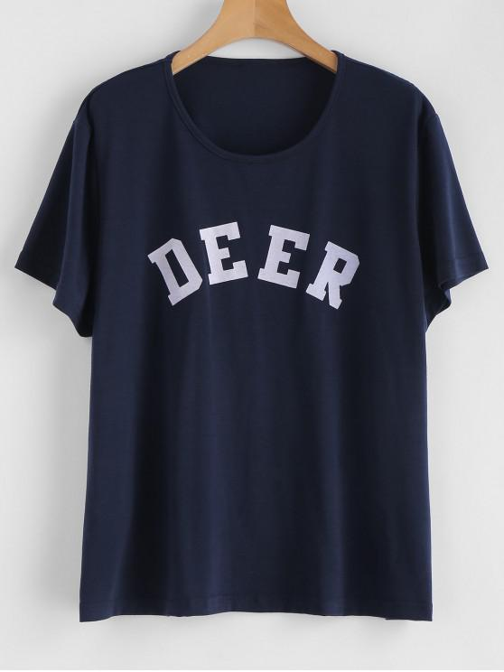 437afdb3e80d 29% OFF] 2019 Deer Graphic Tee In NAVY BLUE | ZAFUL