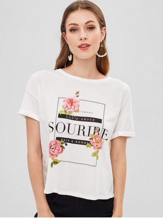 T-shirt Graphique à Lacets - Blanc S