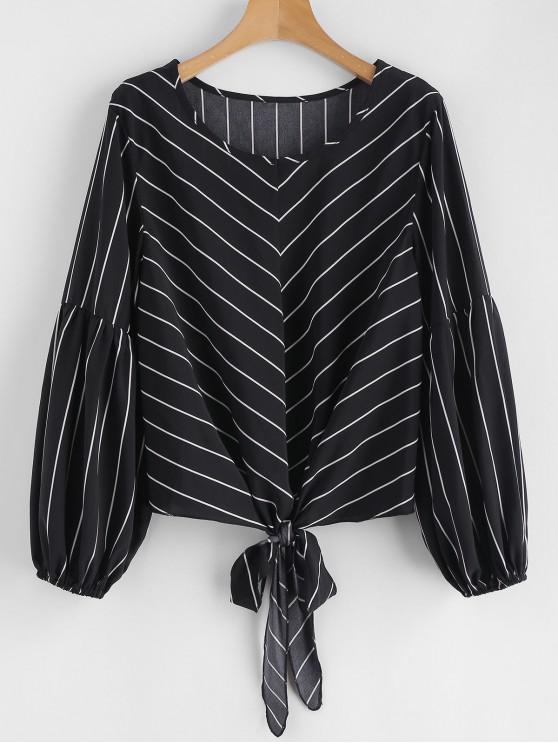 lady Self-tie Striped Blouse - BLACK S