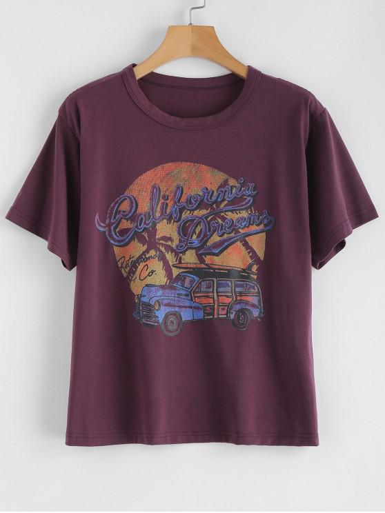 chic Retro Car Graphic Tee - VIOLA PURPLE M