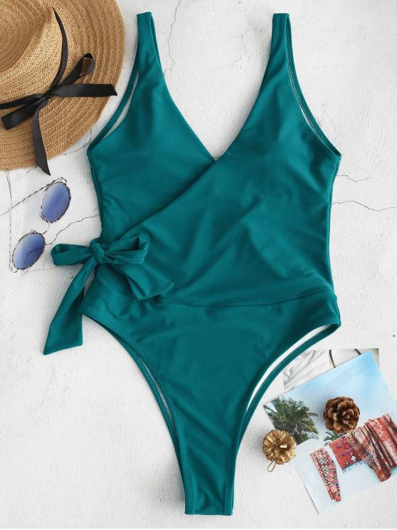 in stock good service for sale ZAFUL Side Tie Wrap One-piece Swimsuit BRIGHT YELLOW GREENISH BLUE SEPIA