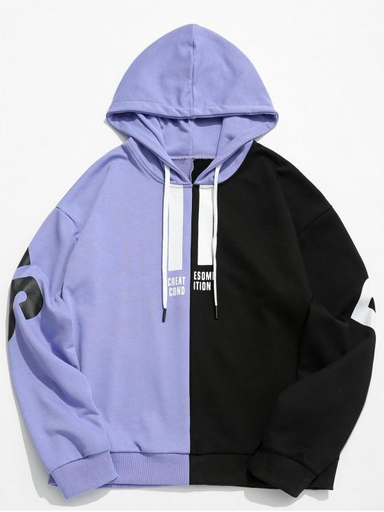 trendy Contrast Color Letter Pullover Hoodie - PURPLE MIMOSA L
