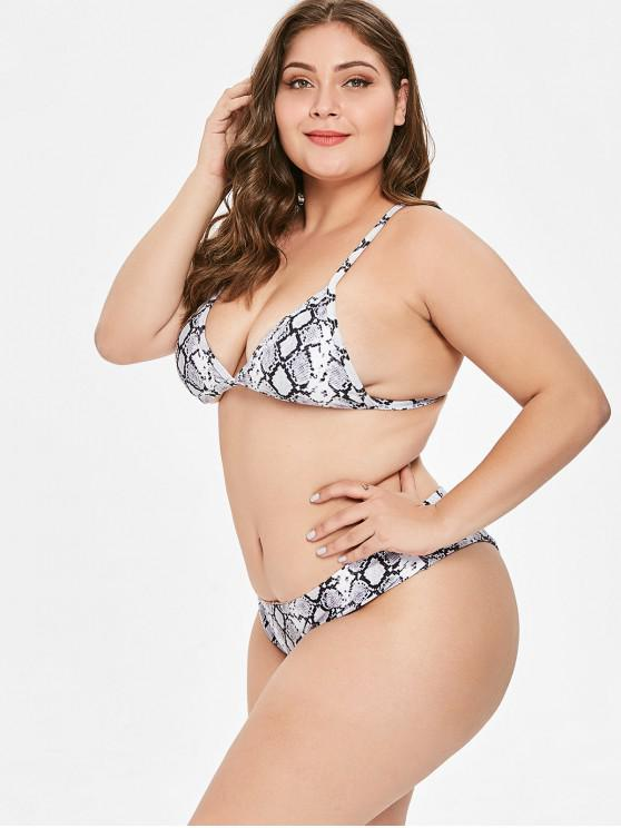3235d61510e 22% OFF] 2019 ZAFUL Plus Size Snakeskin High Leg Bikini Set In MULTI ...
