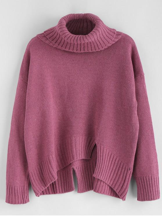outfits Split Hem Turtleneck Boxy Sweater - PLUM ONE SIZE