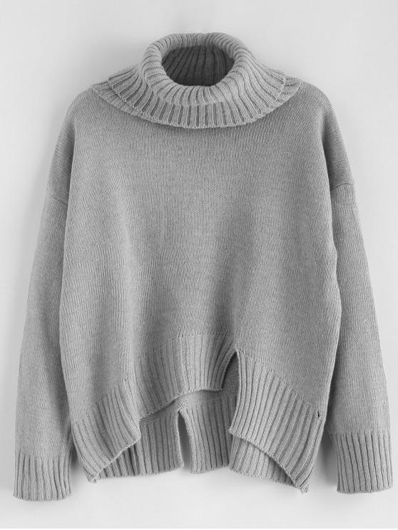 lady Split Hem Turtleneck Boxy Sweater - GRAY CLOUD ONE SIZE