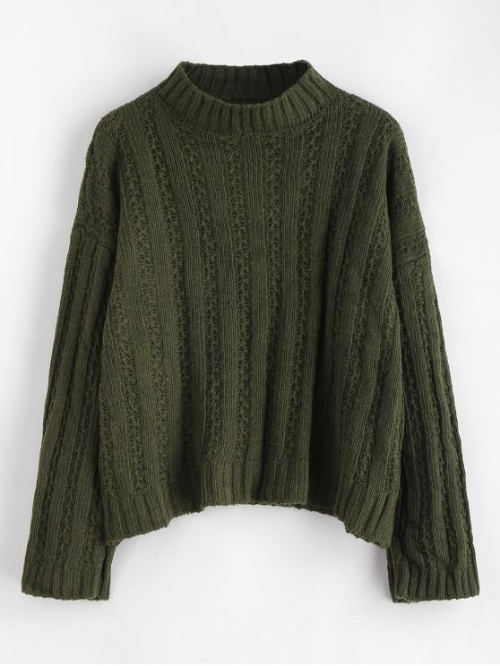women Drop Shoulder Wide Ribbed Boxy Sweater - ARMY GREEN ONE SIZE