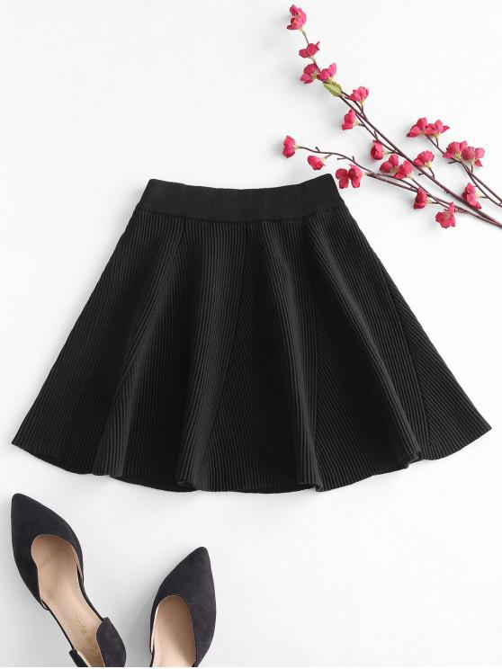 lady Solid Color Flare Skirt - BLACK ONE SIZE