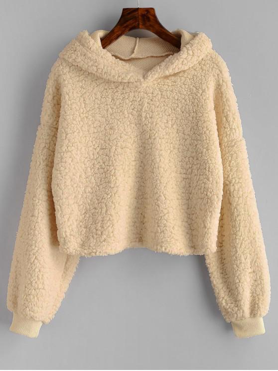 online Loose Fit Faux Fur Hoodie - VANILLA XL