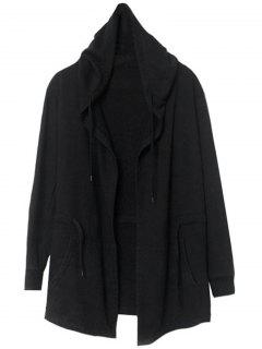 Front Open Hooded Thin Coat - Black L