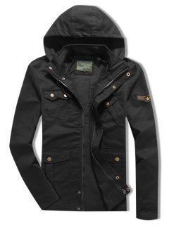 Applique Zipper Casual Drawstring Hoodie Jacket - Black L
