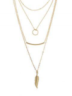 Layered Metal Hoop Shape Necklace - Gold
