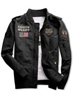 Shark Embroidery Appliques American Flag Jacket - Black M
