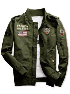 Shark Embroidery Appliques American Flag Jacket - Army Green L