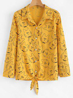 Cat Print Knotted Hem Shirt - Bright Yellow L
