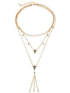 Multilayered Tassel Geometric Rhinestone Necklace - Gold