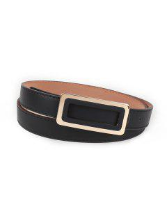 Rectangle Buckle Faux Leather Waist Belt - Black