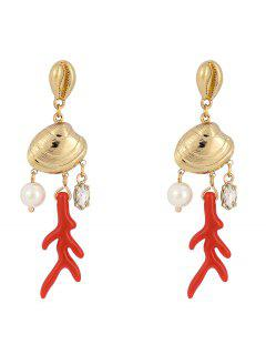 Seashell Shape Rhinestone Drop Earrings - Red