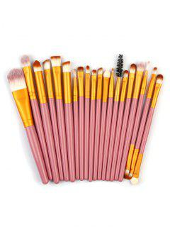 High Quality 20 PCS Wood Handle Makeup Brush Set - Hot Pink