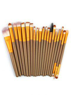 High Quality 20 PCS Wood Handle Makeup Brush Set - Gold