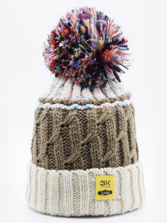 Stylish Knitting Fuzzy Ball Beanie - Beige